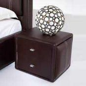 RRP £200 Boxed Victoria Contemporary 2 Drawer Faux Leather Nightstand In Brown