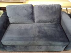 RRP £250 2 Seat Sofa Bed In Blue Suede