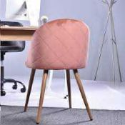 RRP £150 Boxed Zomba Rose Velvet Diamond Mental Chair