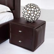 RRP £150 Boxed Victoria Contemporary Two Drawer Brown Faux Leather Nightstand