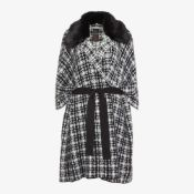 RRP £55 Bagged Mono Check Belted Wrap