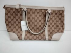 RRP £1350 Gucci Interlocking Hearts Tote Beige/Brown Ivory Leather Shoulder Bag (Aan6331) Grade A (