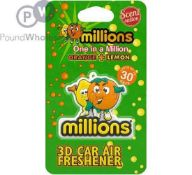 RRP £250 Lot To Contain 125 Brand New Millions Orange And Lemon Scented 3D Car Air Freshener