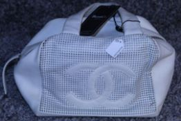 RRP £1700 Chanel Perforated Chain Shoulder Bag In Calf Leather Ivory With Gold Chain Handles (