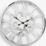 RRP £150 Boxed John Lewis Edgar Skeleton Wall Clock In Chrome