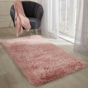 RRP £140 Bagged Cozee Home Soft Shaggy Rug In Colour Blush Pink