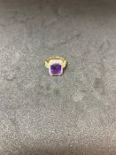 RRP £5750 18ct Yellow Gold And White Gold Amethyst And Diamond Cluster Ring, Emerald Cut Shaped
