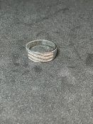 RRP £1750 18ct White Gold 4 Row Wave Design Brilliant Cut Diamond Ring Set With 40 Diamonds (