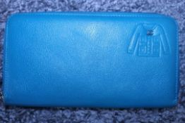 RRP £720 Chanel Jacket Embossed Wallet Blue Small Grained Calf Leather, Zip Around 20X11X3Cm (