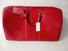 RRP £1200 Louis Vuitton Red Keepall Travel Bag (Aam3098) (Appraisals Available On Request) (Pictures