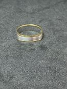 RRP £1050 18ct Yellow Gold And White Gold Gents Wedding Ring With White Gold Centre Matte Finished
