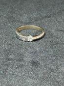 RRP £700 18ct White Gold Brilliant Cut Diamond Single Stone Ring, Small Diamond Set Into Band (
