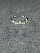 RRP £1500 18ct White Gold Baguette And Brilliant Cut Diamond Ring, 3x Brilliant Diamonds (Appraisals