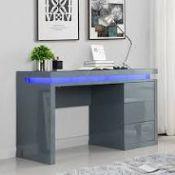 RRP £600 Boxed Emerson Grey High Gloss Computer Desk