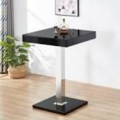 RRP £200 Boxed Topaz Bar Table In Black High Gloss