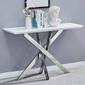 RRP £250 Boxed Petra White High Gloss Console Table