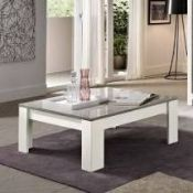 RRP £290 Boxed Lorenz Coffe Table Square In White High Gloss (Appraisals Available On Request) (