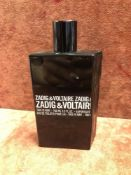 (Jb) RRP £75 Unboxed 100Ml Tester Bottle Of Zadig And Voltaire This Is Him! Eau De Toilette Spray Ex
