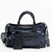 RRP £1240 Balenciaga Small City Shoulder Bag in Dark Blue - AAQ1226 - Grade A - Please Contact Us