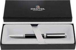 RRP £80 Boxed Sheaffer Pen & Art Supply Detailed Black And Gold Ball Point Ben