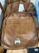 RRP £100 Combined Lot To Contain 3X Coolives Fashion Faux Leather Brown Top Handle Backpack
