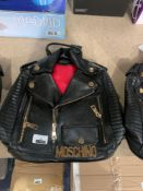 RRP £85 Brand New Cool Live Moschino Style Black Biker Jacket Style Back Packs