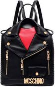 RRP £80 Brand New Cool Lives Moschino Style Biker Jacket Back Packs