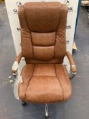 RRP £350 Unboxed John Lewis And Partners Morgan Executive Leather 360 Gas Lift Swivel Office Chair W