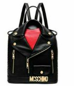 RRP £80 Brand New Ladies Cool Lives Moschino Style Black Leather Biker Jacket Backpack