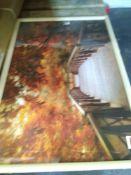 RRP £80 Spiresart Autumn Footbridge Framed Wall Art Picture