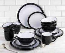 RRP £70 Boxed Camden 16Piece Black And White Dinner Set