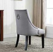 RRP £180 Boxed Soft Grey Victorian Studded Accent Knock Knock Dining Chairs