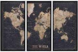 RRP £110 Nautical World Tryptic Stretched Canvas Wall Art Picture