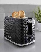 RRP £80 Boxed Tower Herringbone Black Rapid Boil Cordless Jug Kettle And Toaster Set (Sb)