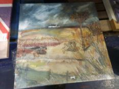 """RRP £110 """"Along The Farm Drive"""" By Artist Louise O'Hara Stretched Canvas Wall Art Picture"""