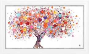 RRP £160 Packaged As New Sara Otter Tree Of Hearts Framed Graphic Wall Art Picture