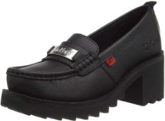 RRP £60 Boxed Pair Of Size Uk 6 Kickers Klio Loafer Heeled Shoes