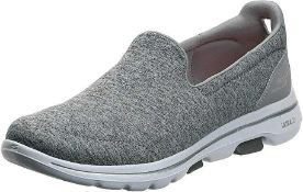 RRP £60 Boxed Pair Of Size Uk 5 Sketchers Gowalk Evolution Ultra Air Cooled Grey Slip On Shoes