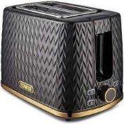 RRP £70 Boxed Tower Herringbone Black Rapid Boil Cordless Jug Kettle And Matching 2 Slice Toaster Se