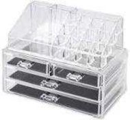 RRP £50 Lot To Contain 3 Boxed Laroc Crystal Clear Acrylic Cosmetic Organiser Drawers