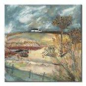 """RRP £100 """"Along The Farm Drive"""" By Artist Louise O'Hara Stretched Canvas Wall Art Picture"""