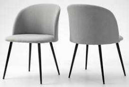 RRP £140 Boxed Pair Of Hallowood Furniture Light Grey Fabric Upholstered Designer Dining Chairs With