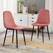 RRP £115 Boxed Pair Of Pink Henri Designer Dining Chairs