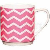 Combined RRP £540 Lot To Contain 72 Brand New Kitchen Craft Neon Pink New Bone China Stacking Mugs