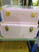 RRP £120 Set Of Amanda Holden Bundleberry Decorative Pink Nesting Trunks