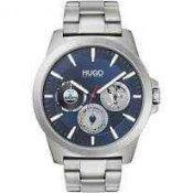 RRP £160 Boxed Hugo By Hugo Boss Men's Twists Sale Silver Navy Blue Face Bracelet Strap Designer