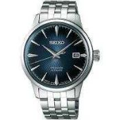 RRP £350 Boxed Seiko Srpb41J1 Men's Presage Automatic Stainless Steal Bracelet Strap Watch Navy Blue