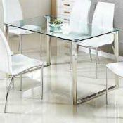 RRP £220 Boxed Furniture And Fashion Megan Dining Table/Desk In Gold And Clear Glass (Appraisals