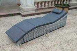 RRP £130 Boxed Beige Rattan Outdoor Garden Sunlouger (Appraisals Available On Request) (Pictures For