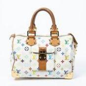 "RRP £2,480 Louis Vuitton Ltd. Ed. ""Takashi Murakami Multicolore"" Speedy Handbag White - AAQ4637 -"